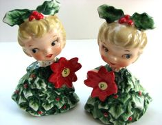 Holt Howard Poinsettia Holly Girl Salt and Pepper Shakers i have these ones.