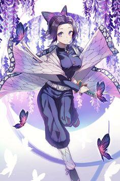 Demon Slayer, Kimetsu no Yaiba, insect hashira, Kochou Shinobu Demon Slayer, Slayer Anime, Anime Angel, Anime Demon, Kawaii Anime Girl, Anime Art Girl, Manga Art, Character Art, Character Design