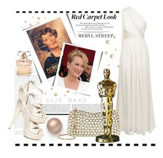 """Red Carpet Look"" by conch-lady ❤ liked on Polyvore featuring Elie Saab, MerylStreep, redcarpetlook, oscarnight and topredcarpetlooks"