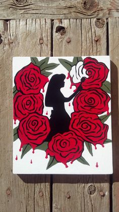 Alice Painting The Roses Red Painting, Alice In Wonderland Art, Hand Painted Wall Decor, Christmas Gift, Alice Decor, Silhouette On Wood Art by KayzAttic on Etsy