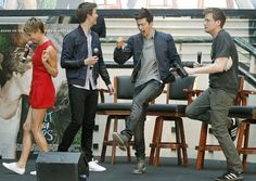 Ansel Elgort, Shailene Woodley, Nat Wolff, and John Green dancing at a press junket for The Fault In Our Stars