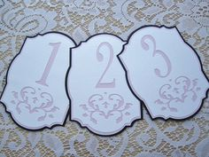 Wedding Table Numbers Black Pink and White by milkdustcreations
