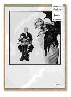 Làmina que representa Hitchcock amb els seus ocells, de l'exposició de Philippe Halsman a CaixaForum.