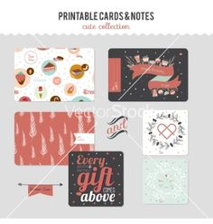 Set of cards notes and stickers with cute vector  - by lana_vasiukova on VectorStock®