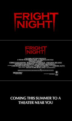 Fright Night (1985) trailer typography – the Movie title stills collection  #horror #movies #horrormovies