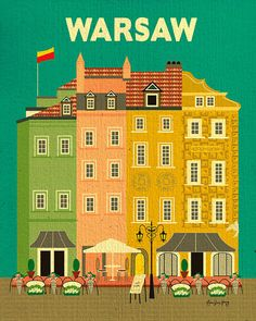 Warsaw, Poland Vertical Wall Art Poster Print - Graphic Design hand illustrated by local artist - E8-O-WAR