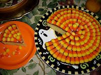 Fun Halloween Cake - put candy corn on top of any small one layer cake.