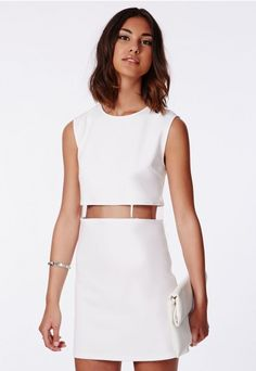 Alexi Perspex Waistband Oversized Shift Dress White - Dresses - Missguided