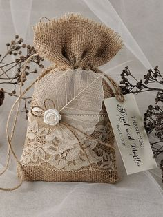 Natural Rustic Burlap Wedding Favor Bag with Lace and birch bark herat