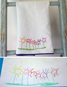 Tutorial stitching your child's drawing onto a tea towel.