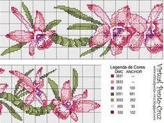 Schema punto croce Bordi-orchidea