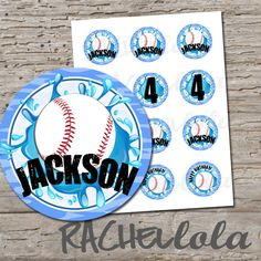 Baseball Pool Party 2 inch cupcake toppers, stickers, label, birthday party