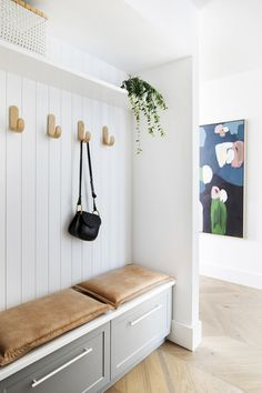Our brand new Winter 2019 issue is all about small homes and smart storage solutions - like this clever little mudroom designed by… Hallway Ideas Entrance Narrow, House Entrance, Entryway, Modern Hallway, Nordli Ikea, Joop Living, Small Hallways, Room Goals, House And Home Magazine