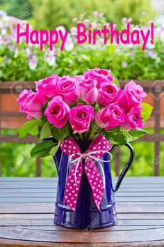 Photo about Bouquet of pink roses in a blue enamel jug with a bow of pink ribbon outdoors, text, happy birthday. Image of plant, text, congratulations - 51933227 Happy Birthday Bouquet, Birthday Wishes Flowers, Birthday Wishes For Kids, Birthday Wishes Cake, Happy Birthday Wishes Images, Happy Birthday Video, Birthday Blessings, Happy Birthday Pictures, Birthday Wishes Quotes