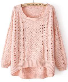 Pink Round Neck Long Sleeve Hollow Sweater - Sheinside.com