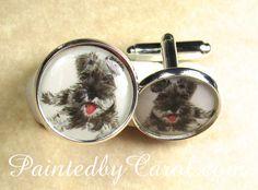 Schnauzer Cufflinks  Gray Miniature Schnauzer by PaintedbyCarol