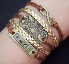 Blue Gift Bag Fashion Bracelet Faux Leather Cord with Gold tone Owl
