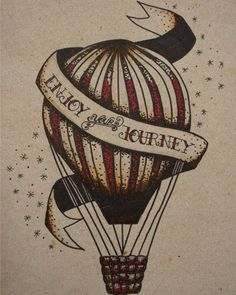 Traditional Tattoo Hot Air Balloon Print by Arttrocity on Etsy, $20.00: