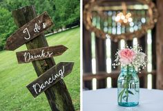 That DIY wedding sign is just too cute. Click to view more from this shabby-chic Nashville wedding at Drakewood Farm, photographed by Ace Photography! | The Pink Bride www.thepinkbride.com