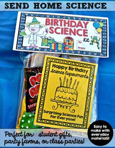 Best student birthday gifts ever! My kiddos get so excited when they get these for their birthday gifts from the teacher. The kits don't cost much to make, can be put together in advance, AND they are educational! Win-win! Great favors for a Mad Scientist party, too!