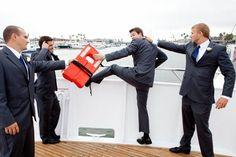 Funny Groom & Groomsmen Photo at Hornblower Crusies ~ Yacht Wedding ~ Newport Beach, CA www.hornblower.com