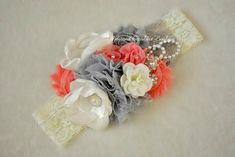 Coral Gray and Ivory lace headband baby by AdornedCreations