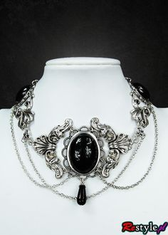 Black Victorian choker with black cabochons - 0 Black Victorian choker - 0 | JEWELLERY \ Chokers | Restyle.pl