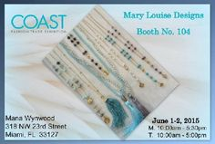 Visit us today and tomorrow at the Coast Fashion Trade Exhibition, Booth number 104. See you there!!