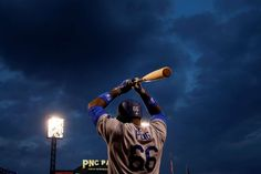 On deck:    Yasiel Puig of the Los Angeles Dodgers waits in the on-deck circle in the sixth inning against the Pittsburgh Pirates at PNC Park in Pittsburgh on June 24.