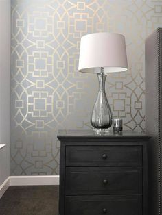 A DIY metallic stenciled bedroom accent wall using the Tea House Trellis Wall Stencil from Cutting Edge Stencils. Project by Beautiful on the Inside Buy this stencil: http://www.cuttingedgestencils.com/tea-house-trellis-allover-stencil-pattern.html