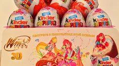 Смотреть онлайн видео 36 Киндер Cюрпризов Винкс на Русском языке.Unboxing Kinder Surprise Eggs Winx Club
