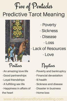 Five of Pentacles: Predictive Tarot Card Meanings — Lisa Boswell Tarot Cards For Beginners, Tarot Card Spreads, Tarot Astrology, Love Tarot, Def Not, Tarot Card Meanings, Tarot Readers, Pentacle, Card Reading