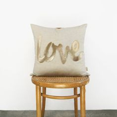 Love Word Decorative Throw Pillow Case in Metallic Gold and Beige | 18x18 inch / 45x45 cm Cushion Cover | Modern Home Decor, Wedding Gift