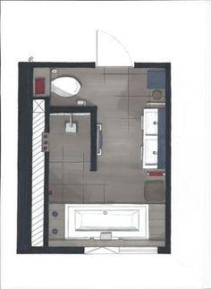Plattegrond badkamer, inloopdouche, bad, dubbele wastafel en apart toilet