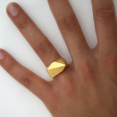 Facet Ring Gold Plated | Orno Jewelry