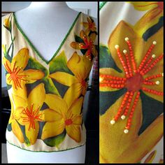Rishta Beaded Silk Top / Floral Beaded Silk Top / Gold Orange Green Floral Top / fits M-L / Tropical Flower Beaded Top by OGOvintage on Etsy