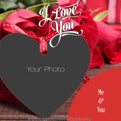 Edit Photo Frame with Love Shaped Hearts Online Love Images With Name, Beautiful Love Images, Love Heart Images, I Love You Pictures, Name Pictures, Love Photos, Anniversary Cake With Photo, Happy Wedding Anniversary Wishes, Happy Anniversary Cakes