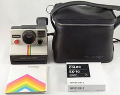 Tested and Working Vintage Polaroid OneStep SX-70 White Rainbow Stripe Instant Film Land Camera with Genuine Polaroid Camera Case, Original Manual, and 1 Pack of New Impossible Project Color SX-70 Film  ABOUT THE CAMERA: This is the iconic Polaroid SX-70 OneStep camera that helped to inspire Instagram. In fact, Instagram's App logo is a direct play on this vintage camera.  This little camera is both highly collectible and usable. It was one of the first instant film cameras designed and…