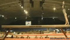Gymnastics Fails gif   Gymnast missing balance beam