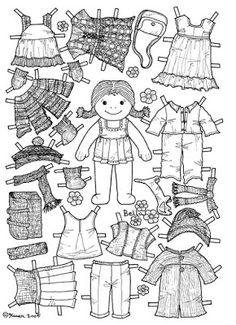Karen`s Paper Dolls: Bella 1-2 Paper Doll to Colour. Bella 1-2 påklædningsdukke…