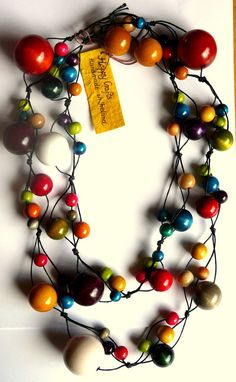 Colorful beautiful wooden beads necklace Long by HappyCrafts1