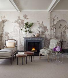 Designer Suzanne Rheinstein Hollyhock.   (via blueroomlady)    wall painting!!!! love it~