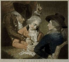 """""""The Gamesters"""" by Rev. M.W. Peters (1786) - """"The Gamesters, a mezzotint after a painting by his friend, the Rev MW Peters, shows [Thomas] Rowlandson (right) cheating a young aristocrat at cards with an accomplice's help."""""""