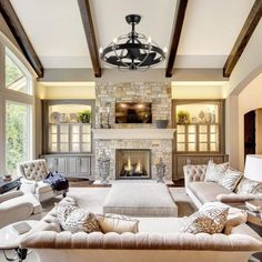25 Various Large Living Room Design Ideas Image design ideas for large living room. design ideas for large living room wall. Home Fireplace, Living Room With Fireplace, Fireplace Design, Living Room Vaulted Ceiling, Living Room With Windows, High Ceiling Living Room Modern, Fireplace Stone, Ceiling Design Living Room, Fireplaces