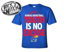 Kansas Jayhawks Basketball Youth is No Excuse Youth Tee - Royal