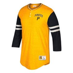 Pittsburgh Pirates Mitchell & Ness Home Stretch 3/4-Sleeve Henley T-Shirt - Gold/Black