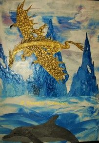 Golden Dragon - Encaustic Creations - Showcasing the amazing art of Jacquie Thurman  #WizzleyWednesday