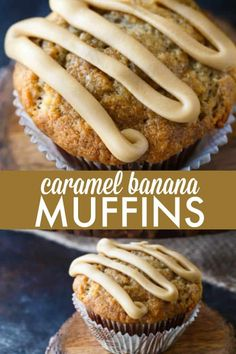 Caramel Banana Muffins - Incredibly moist and flavourful banana muffins topped with a sinfully sweet ribbon of homemade caramel. Incredibly moist and flavourful banana muffins topped with a sinfully sweet ribbon of homemade caramel. Banana Recipes, Muffin Recipes, Brunch Recipes, Sweet Recipes, Cookie Recipes, Breakfast Recipes, Dessert Recipes, Blueberry Recipes, Simple Recipes