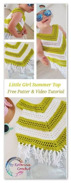 Little Girl Summer Top. Free pattern for 4 and 6 years old, video tutorial plus some tips to help you make this top in any sizes. girl Little Girl Summer Top crochet pattern Plus Size Sewing Patterns, Baby Patterns, Knitting Patterns Free, Baby Knitting, Crochet Patterns, Free Knitting, Crochet Ideas, Crochet Baby Dress Free Pattern, Knitting Ideas