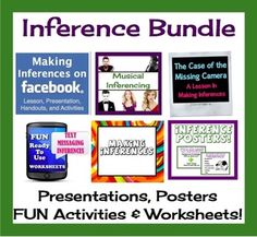 Inference Bundle:Fun Printable Activities and Worksheets only 9.99 for this bundle of activities for 6th through 10th graders. I can even see some of my 11th and 12 th graders enjoying these activities. Activities include Facebook, text messaging, and song lyrics.